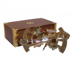 Brass double sextant 15cm with wooden box 23x13x8cm