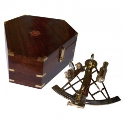 Brass sextant 28cm with wooden box 30x30x13cm