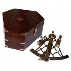 Sextante latón 28cm en caja madera 30x30x13cm