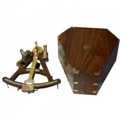 Sextante madera-latón 28cm con caja 32x30x14cm