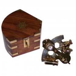 Brass sextant 10cm with wooden box 14x14x8cm