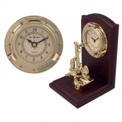 Bookend with anchor and porthole clock 20x14x13cm