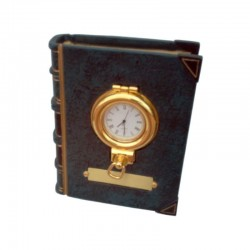 Bookend with clock in brass porthole 13x10x5cm
