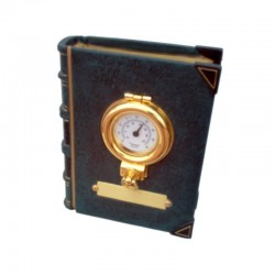 Bookend with thermometer in brass porthole 13x10x5cm
