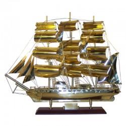 """Velero """"Marco Polo"""" de latón pulido 52x44x14cm"""