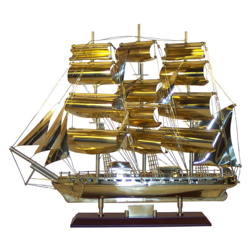 """Sailboat """"Marco Polo"""" of polished brass 52x44x14cm"""