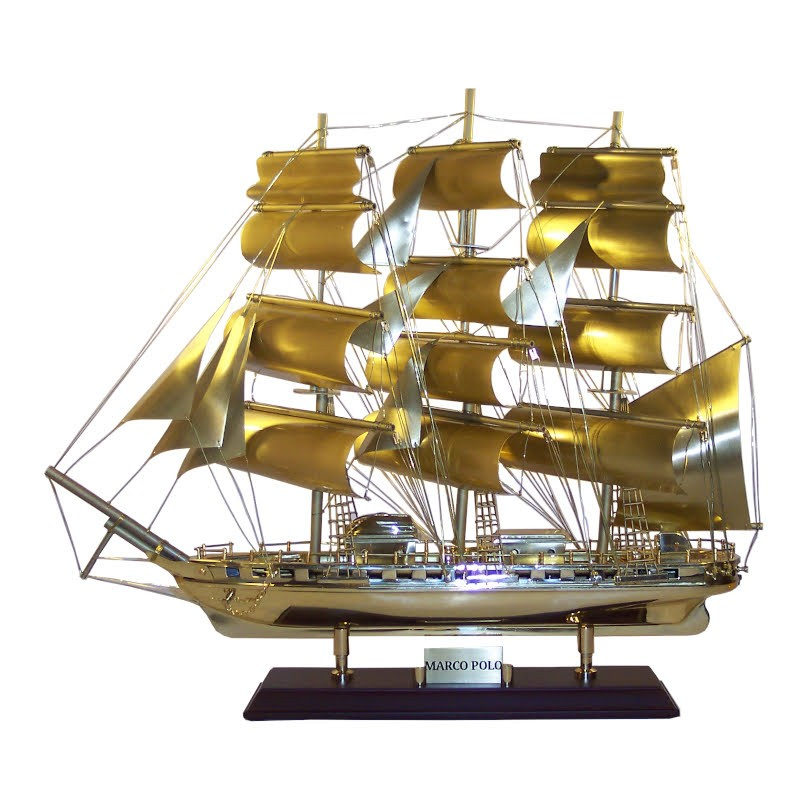 """Sailboat """"Marco Polo"""" of old brass 52x44x14cm"""
