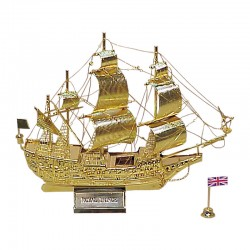 """Sailboat """"Royal Prince"""" of gilded brass 16x16x4cm"""