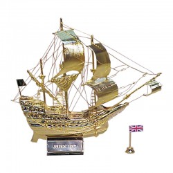 """Sailboat """"Golden Hind"""" of gilded brass 16x16x4cm"""