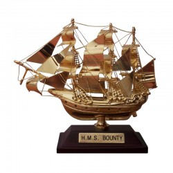 """Sailboat """"HMS Bounty"""" of gilded brass 10x8x4cm"""