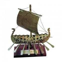 Viking sailboat of old brass 10x8x4cm
