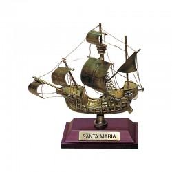 """Carabela """"Santa María"""" de latón viejo 10x8x4cm"""