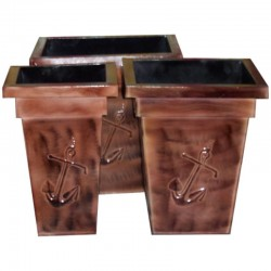 Set 3 metal planters decorated with anchor