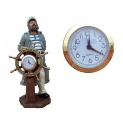 Figura de capitán al timón con reloj 38x18x15cm