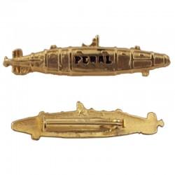 Alfiler submarino Peral, de metal dorado