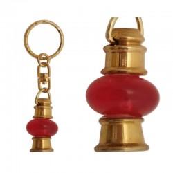 Llavero Farol bombilla roja, de latón y cristal