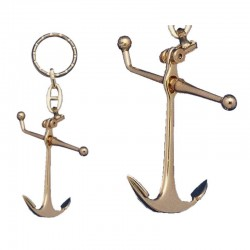 Keychain articulated Admiralty anchor, of gilded metal