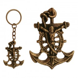 Keychain Christ of the sea, old gilded metal