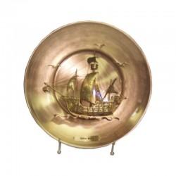 Brass decorative plate with caravel Santa Maria 25cm