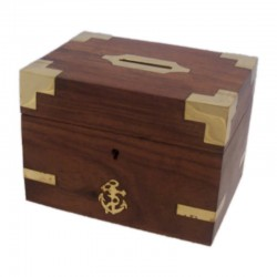 Nautical money box with key, of wood and bronze, 14x10cm