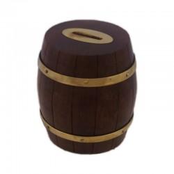 Hucha barril de madera y bronce, 10x11cm