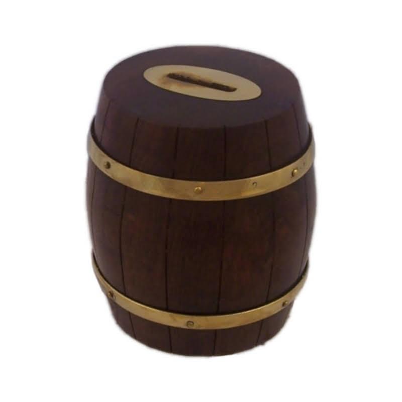 Money box Barrel, of wood and bronze, 10x11cm