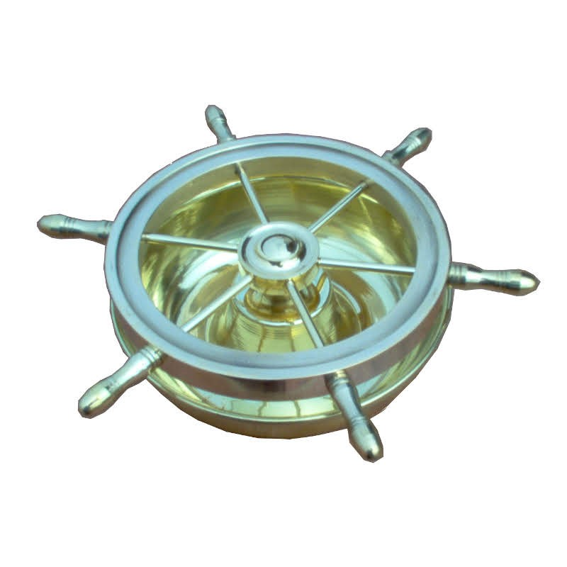 Ashtray brass rudder wheel