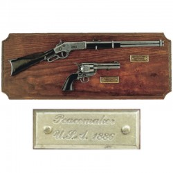 Miniaturas rifle y revólver, metopa madera (30cm)