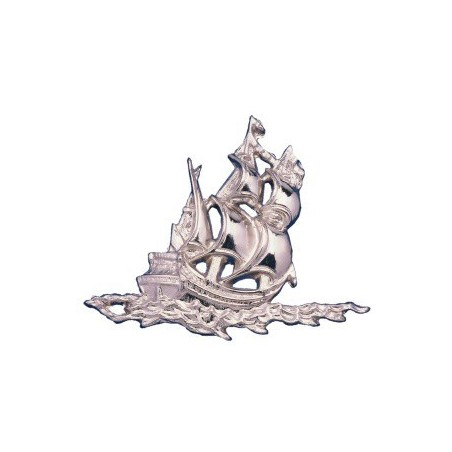 Silvered ABS sailboat - 170x130x12mm