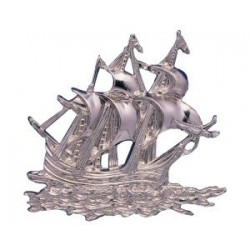 Silvered ABS sailboat - 145x130x12mm