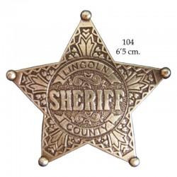 Placa de Sheriff 5 puntas