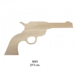 Silueta madera para pintar, revólver western