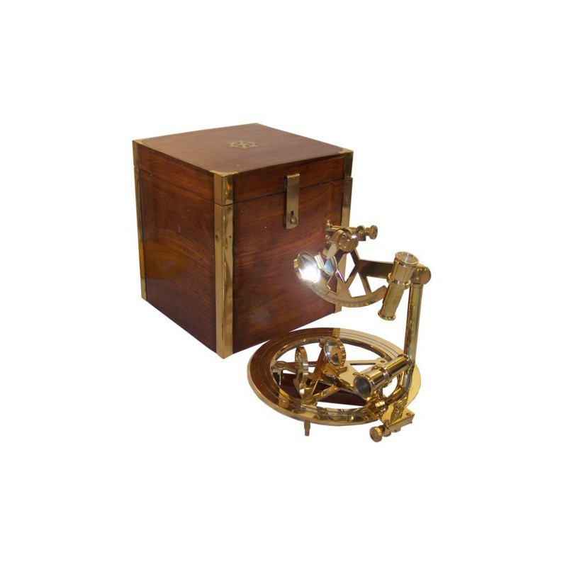 Double sextant of 25cm with wooden box of 22x22x29cm