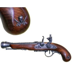 Flintlock pirate pistol (left-handed), 18th. century