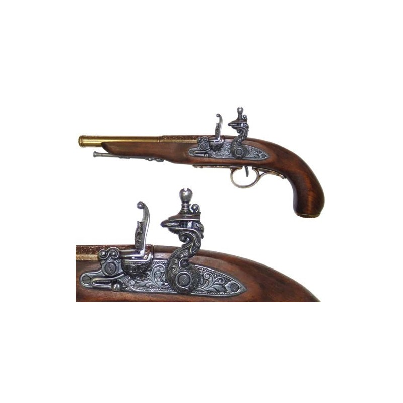 Flintlock pistol (left-handed), 18th. century