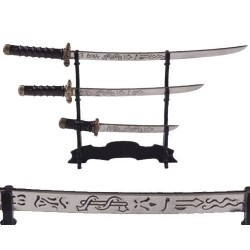 Set of 3 samurai mini-weapons with stand